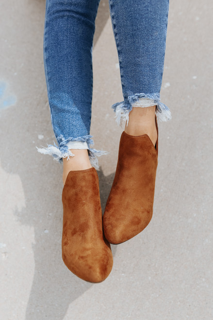 Faux Suede Brown Side Slit Booties