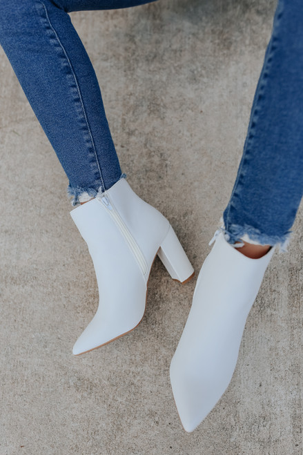 After Party Pointed Toe White Booties