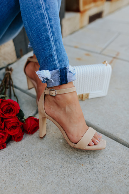 Faux Suede Nude High Heels