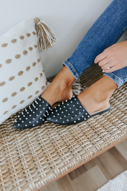 Star Studded Faux Leather Black Mules