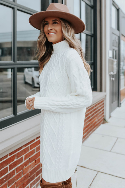 Jovie Mock Neck Cable Sweater Dress