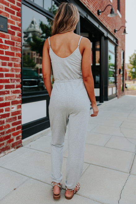Button Detail Grey Drawstring Jumpsuit