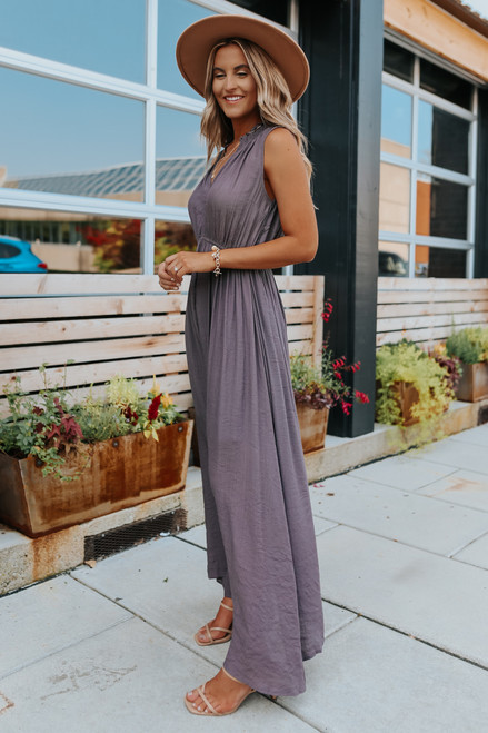 Storybrooke V-Neck Lavender Grey Maxi