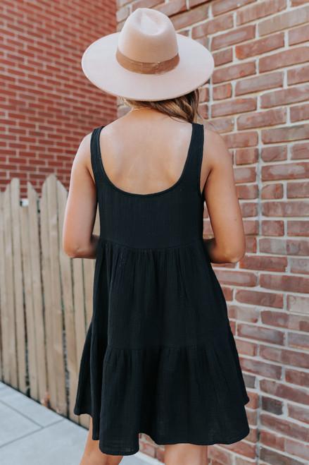 Button Detail Black Tiered Dress