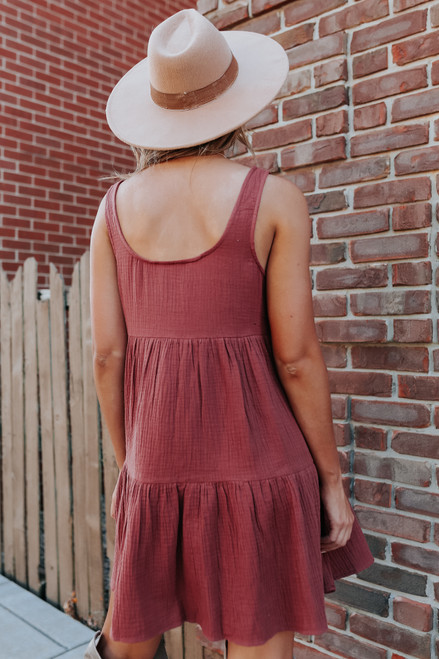 Button Detail Redwood Tiered Dress