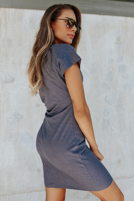 Shea Side Tie Navy T-Shirt Dress