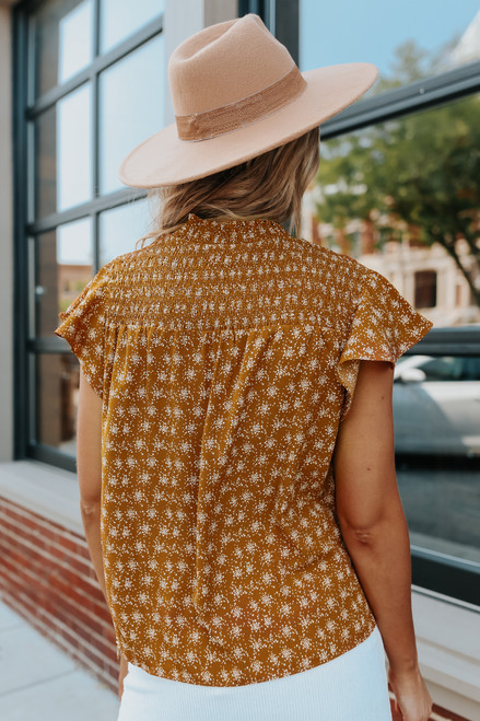 Mock Neck Smocked Gold Printed Blouse