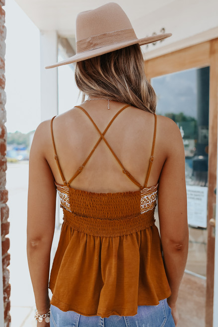 Sweetheart Embroidered Rust Tank