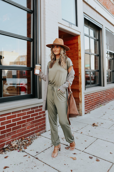 Short Sleeve Drawstring Jogger Jumpsuit