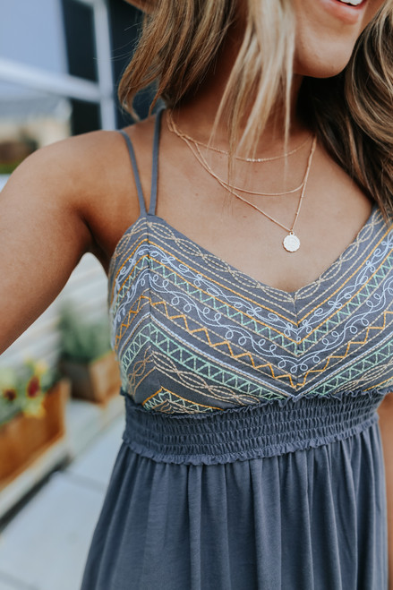 Sweetheart Embroidered Charcoal Maxi