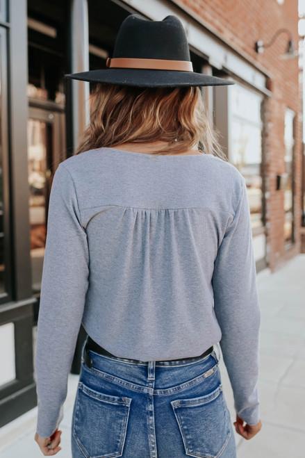 Long Sleeve Surplice Ribbed Bodysuit