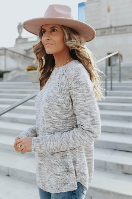 Lace Up Detail Grey Marbled Sweater