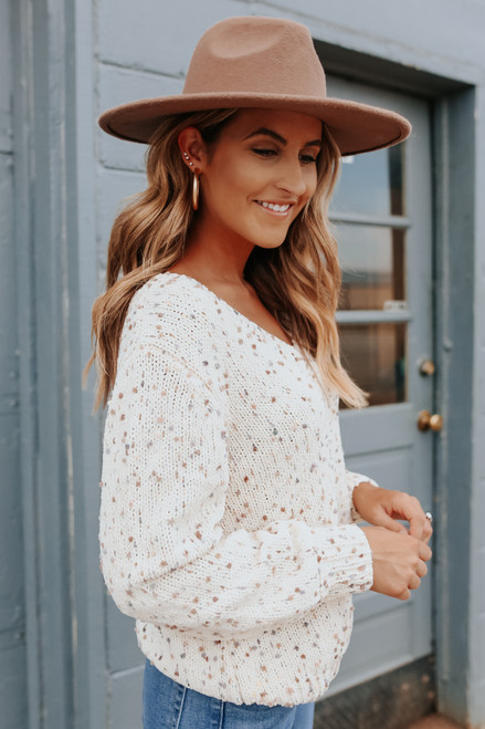 V-Neck Cream Confetti Chenille Sweater