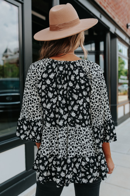 V-Neck Floral Colorblock Tiered Top