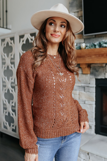 Two Tone Cable Detail Brick Sweater