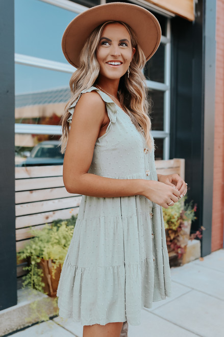 Button Down Light Olive Dotted Dress