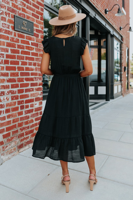 Button Detail Black Tiered Midi Dress