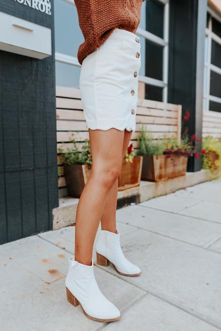 Button Down Cream Corduroy Skirt