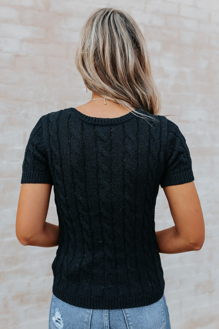 Short Sleeve Button Detail Black Cable Sweater