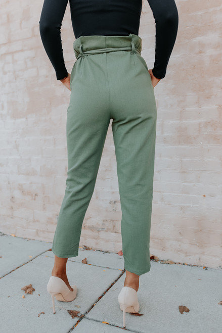 Dinner Party Paperbag Olive Pants