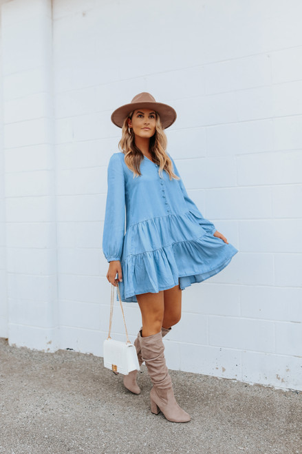 Button Detail Chambray Tiered Dress