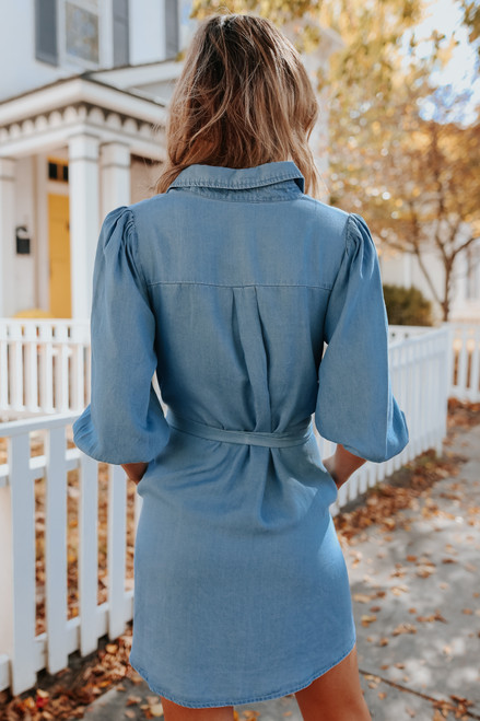 Button Down Tie Waist Chambray Dress