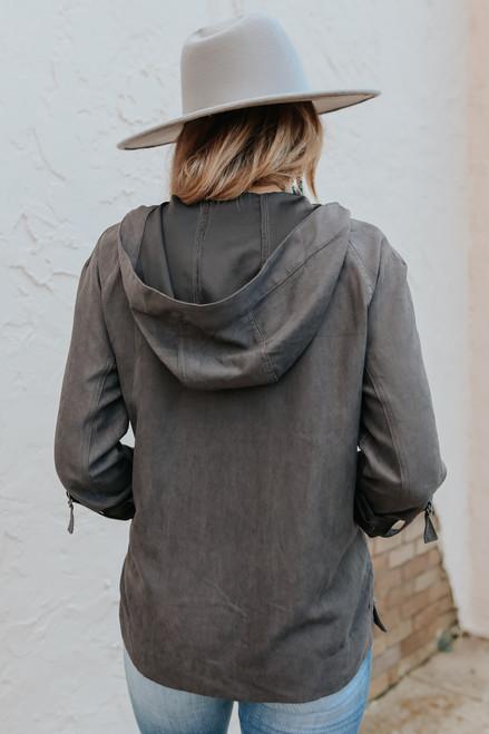 Roll Tab Grey Hooded Jacket