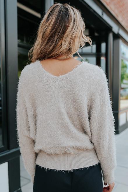 V-Neck Dolman Taupe Fuzzy Sweater