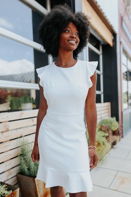 Ruffle Cap Sleeve White Flounce Dress