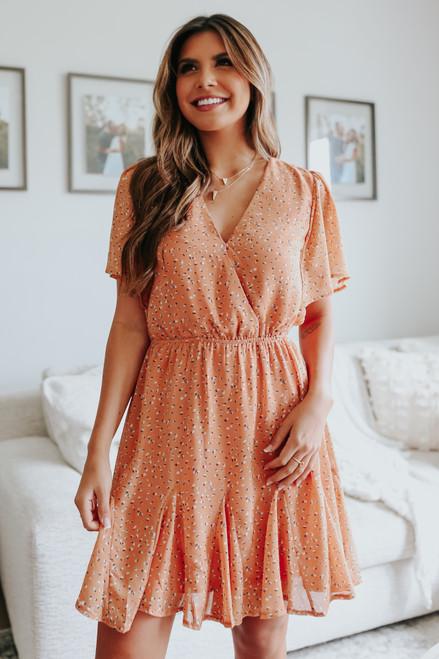 Short Sleeve Apricot Printed Dress