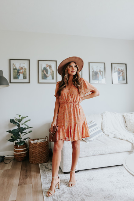 Short Sleeve Apricot Printed Dress