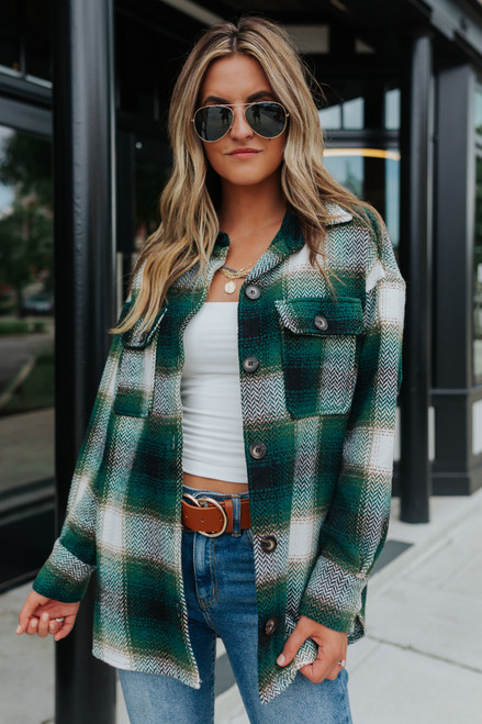 Valley View Green Plaid Flannel Shacket