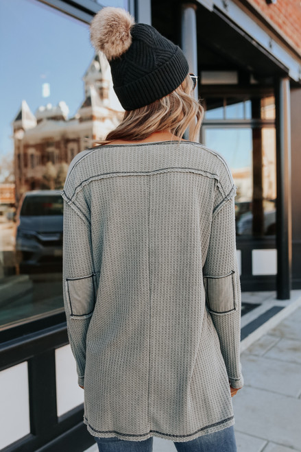 Stone Washed Olive Henley Thermal