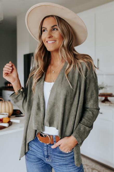 Faux Suede Olive Cascading Jacket