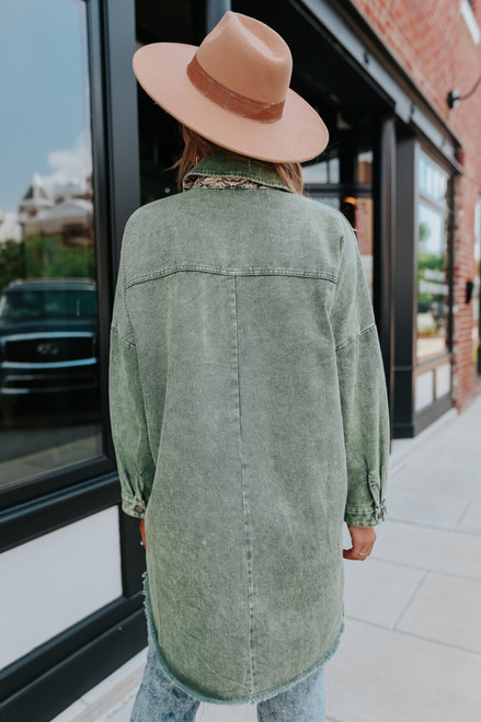 Frayed Vintage Wash Olive Shacket