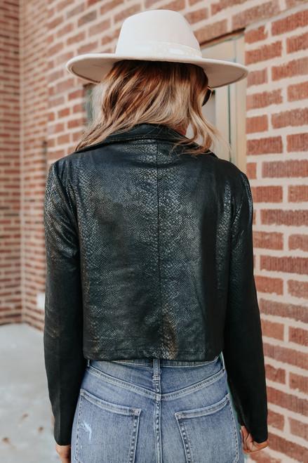 Faux Suede Snake Print Moto Jacket