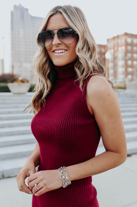 Monroe Sleeveless Wine Turtleneck Sweater