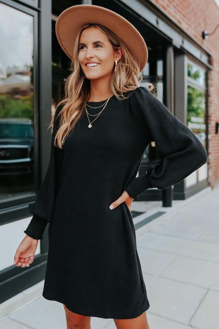 Balloon Sleeve Black Ribbed Sweater Dress