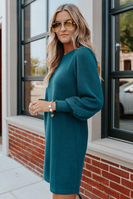 Balloon Sleeve Green Ribbed Sweater Dress