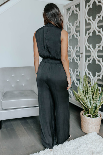 Mock Neck Smocked Satin Jumpsuit