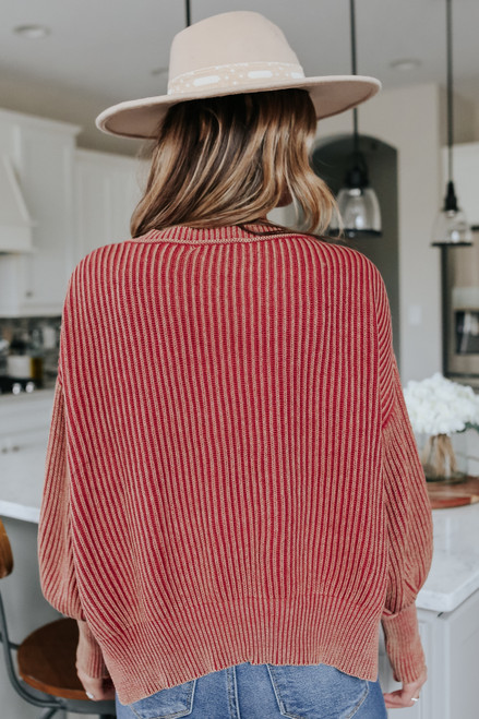V-Neck Vintage Wash Ribbed Sweater