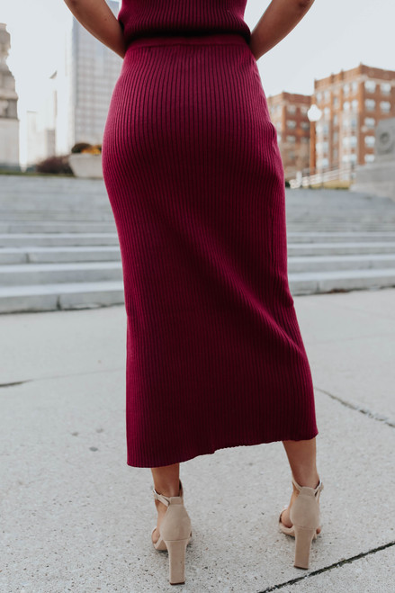 Marilyn Wine Slit Sweater Skirt