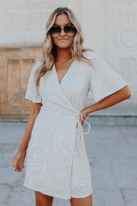 Hollywood Glam Sequin Wrap Dress