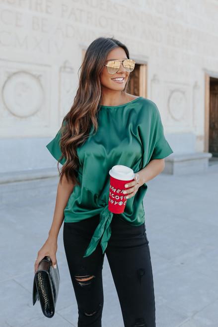 Naomi Satin Kimono Green Knot Top