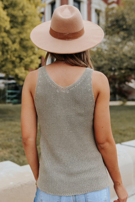 V-Neck Olive Sweater Tank