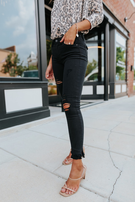 About Town Black Distressed Skinny Jeans