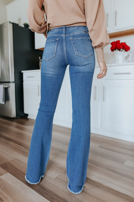 Hometown Frayed Medium Wash Flare Jeans