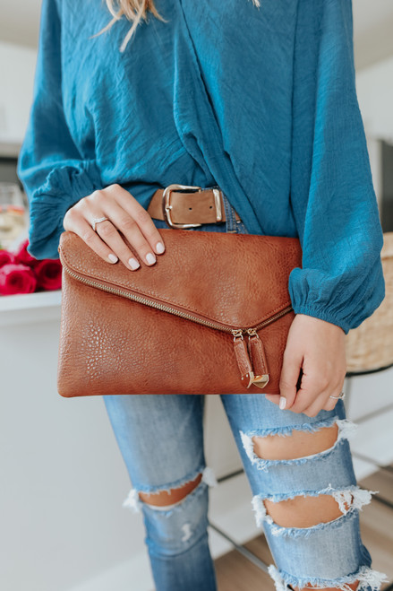 Stella Vegan Leather Tan Crossbody Clutch
