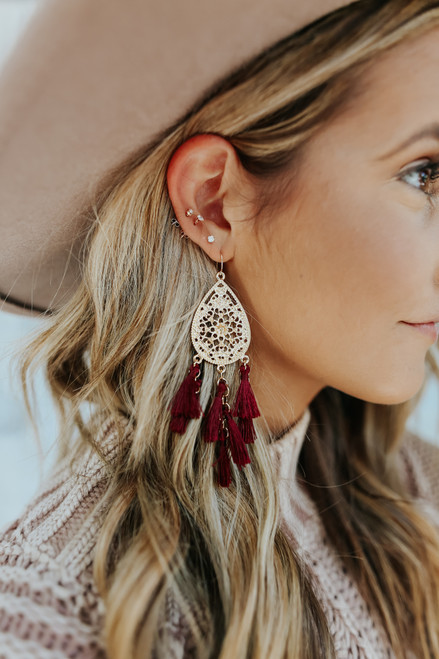 Daydream Filigree Tassel Burgundy Earrings