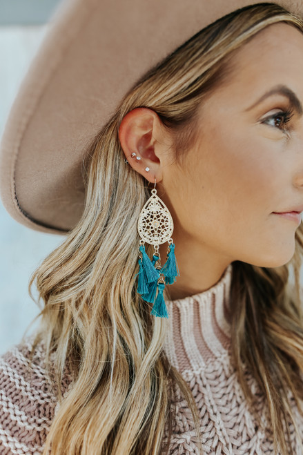 Daydream Filigree Tassel Teal Earrings